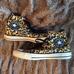 Rare Leopard converse high tops. Used.